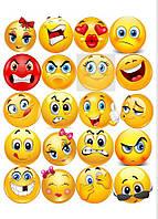 Вафельная картинка Смайлы   Съедобные картинки Smile   Смайлы на торт картинки разные Формат А4