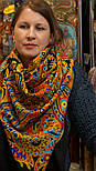 Печатный пряник 356-18, павлопосадский платок (шаль) из уплотненной шерсти с шелковой вязанной бахромой, фото 8