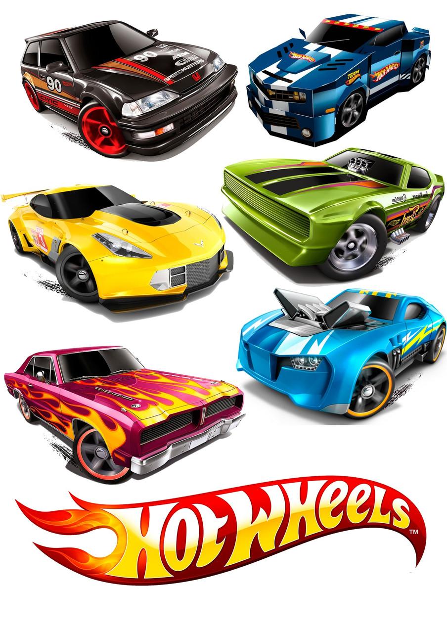 Вафельна картинка Hot Wheels | Їстівні картинки Хот вілс | Гарячі гонки картинки різні Формат А4