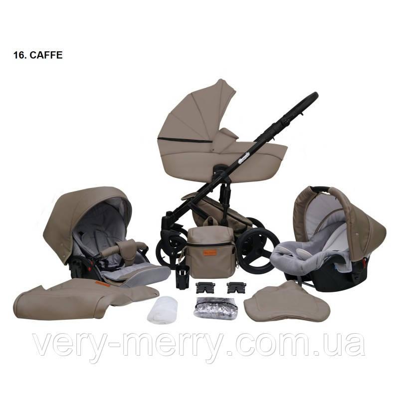 Детская универсальная коляска 2 в 1 Mikrus Comodo (кофейный цвет)