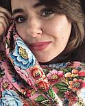 Павловопосадский 1816-3, павлопосадский платок (шаль) из уплотненной шерсти с шелковой вязанной бахромой, фото 4