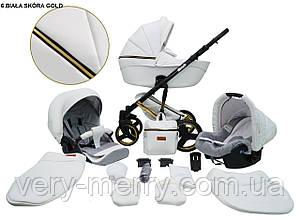 Детская универсальная коляска 2 в 1 Mikrus Comodo Gold (белый цвет)