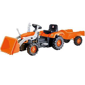 Трактор на педалях з причепом і ковшем DOLU темно-оранжевий (8052)