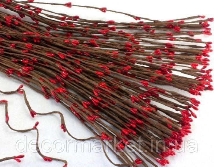 Гілочка з червоними тичинками гнучка 40см