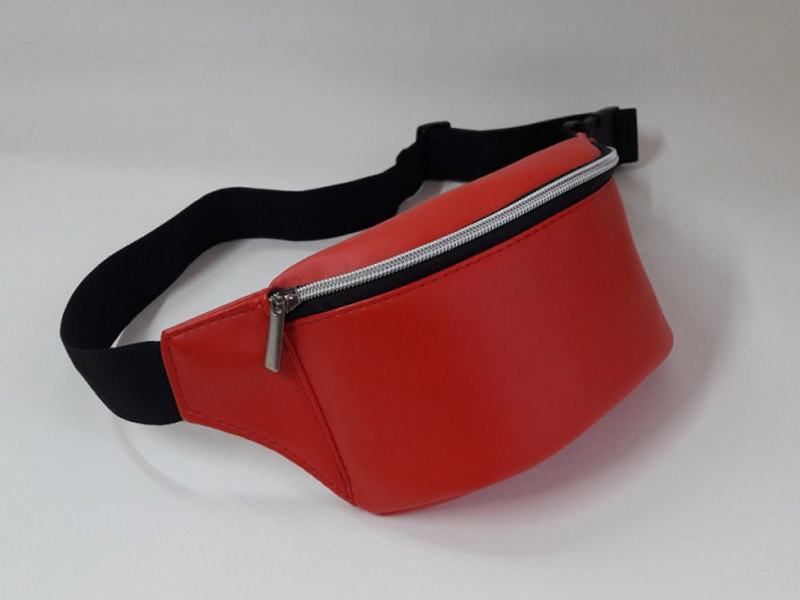 Женская поясная сумка бананка красная на пояс, через плечо матовая эко-кожа (качественный кожзам)