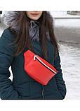 Женская поясная сумка бананка красная на пояс, через плечо матовая эко-кожа (качественный кожзам), фото 10