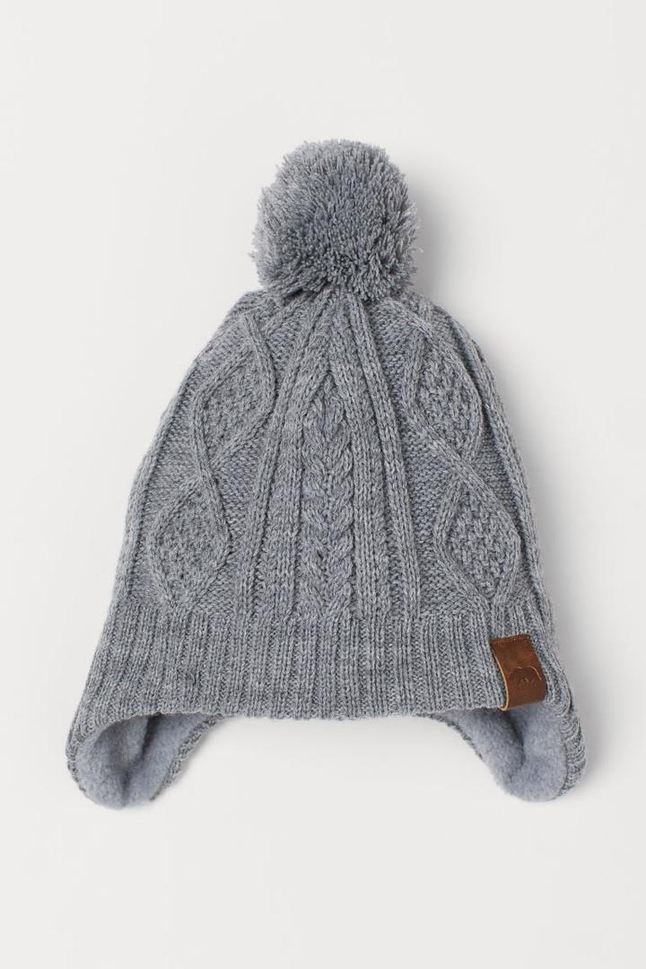 Зимова в'язана шапочка на флісовій підкладці НМ для хлопчика