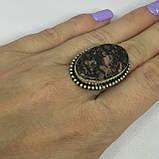 Красивое кольцо 17,4 размер с натуральным камнем родонит в серебре. Кольцо с родонитом. Индия, фото 2