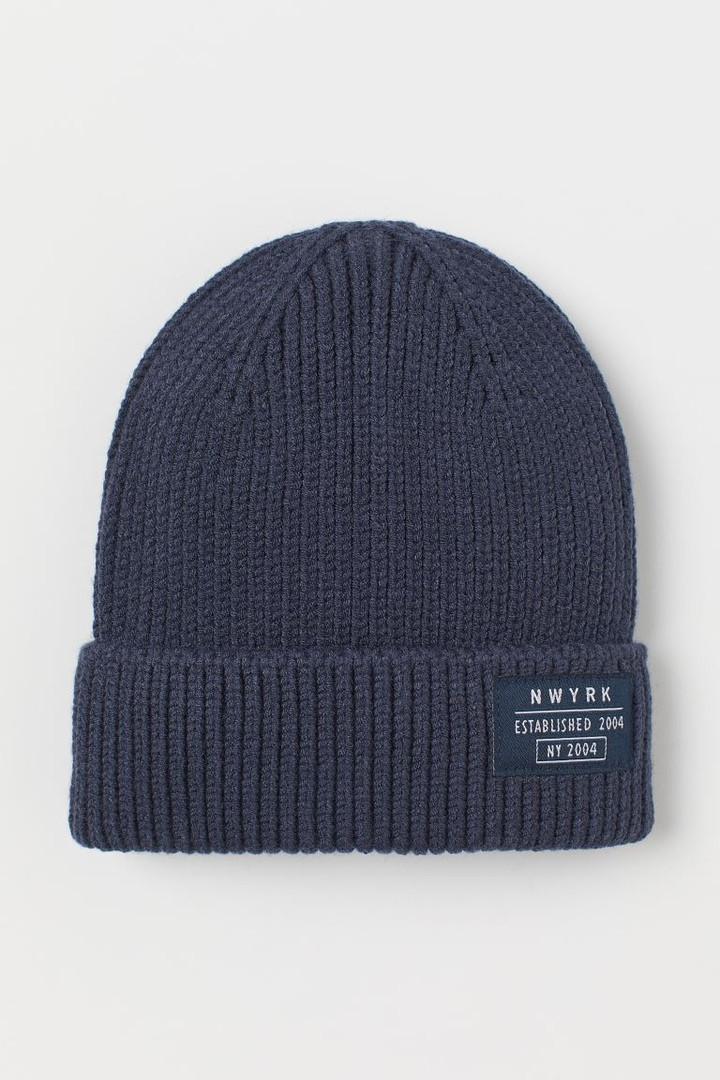 Демісезонна синя шапочка з відворотом для хлопчика НМ