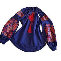 Женская вышитая рубашка синяя с красной и оранжевой вышивкой жар-птиц