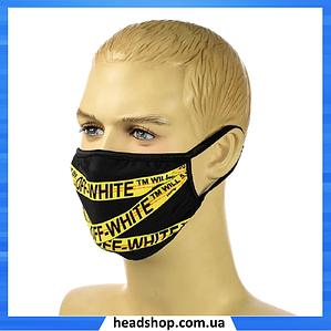 """Маска аниме """"Off White"""" - многоразовая защитная маска на лицо двухслойная"""