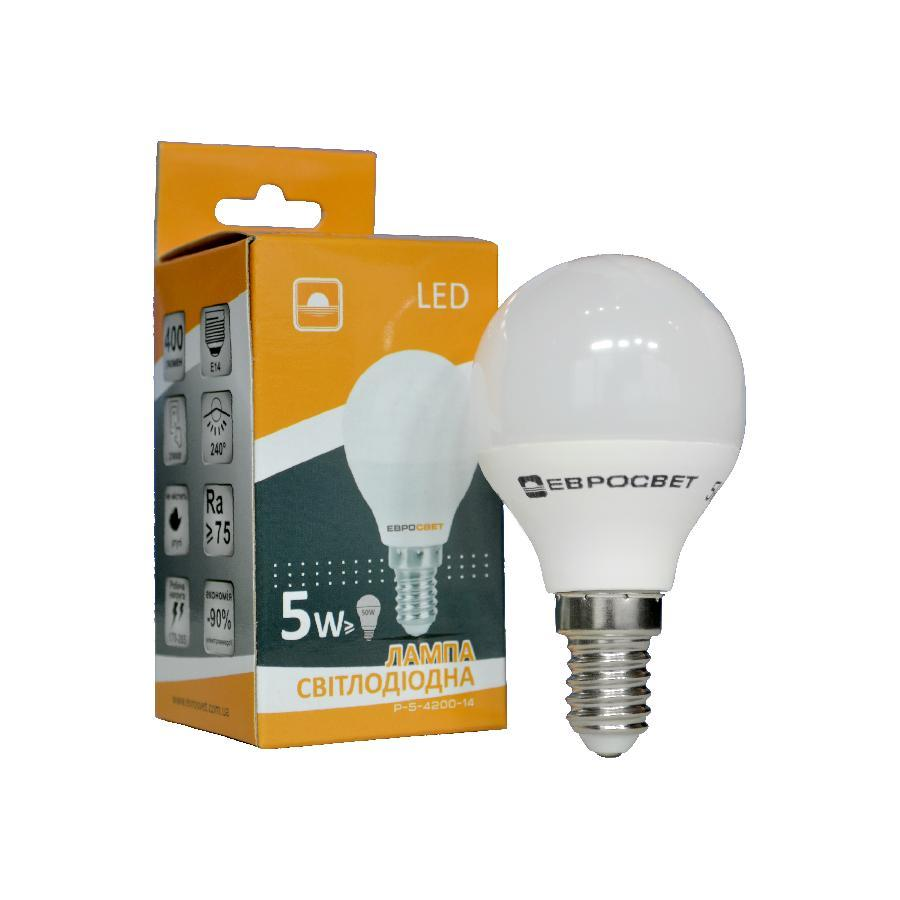 Лампа светодиодная ЕВРОСВЕТ 5Вт 4200К Р-5-4200-14 E14
