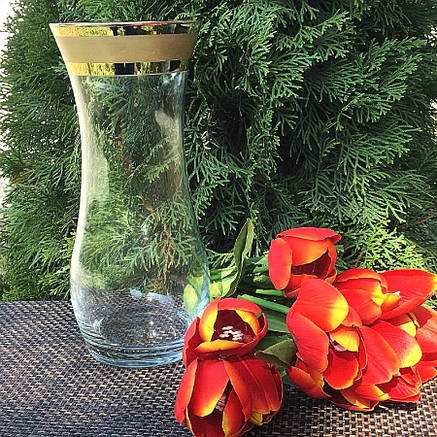Ваза стеклянная с золотоми Гусь-Хрустальный Ампир 25.5 см (79-3737), фото 2