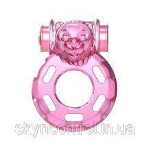 Эрекционное кольцо с вибрацией и презервативом Pink Bear