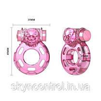 Эрекционное кольцо с вибрацией и презервативом Pink Bear, фото 3