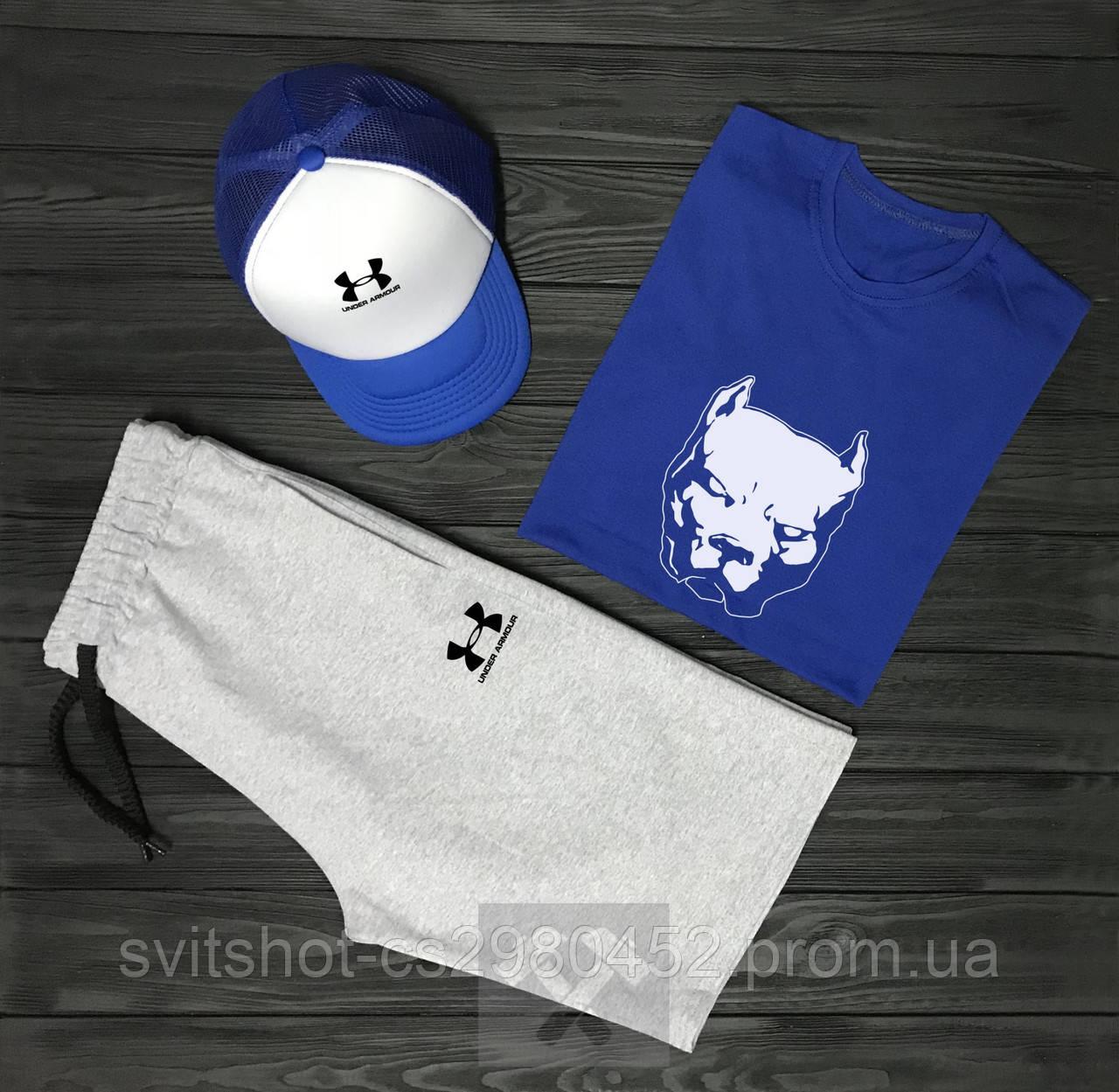 Комплект Pitbull+Under Armour  (шорты+футболка+кепка)