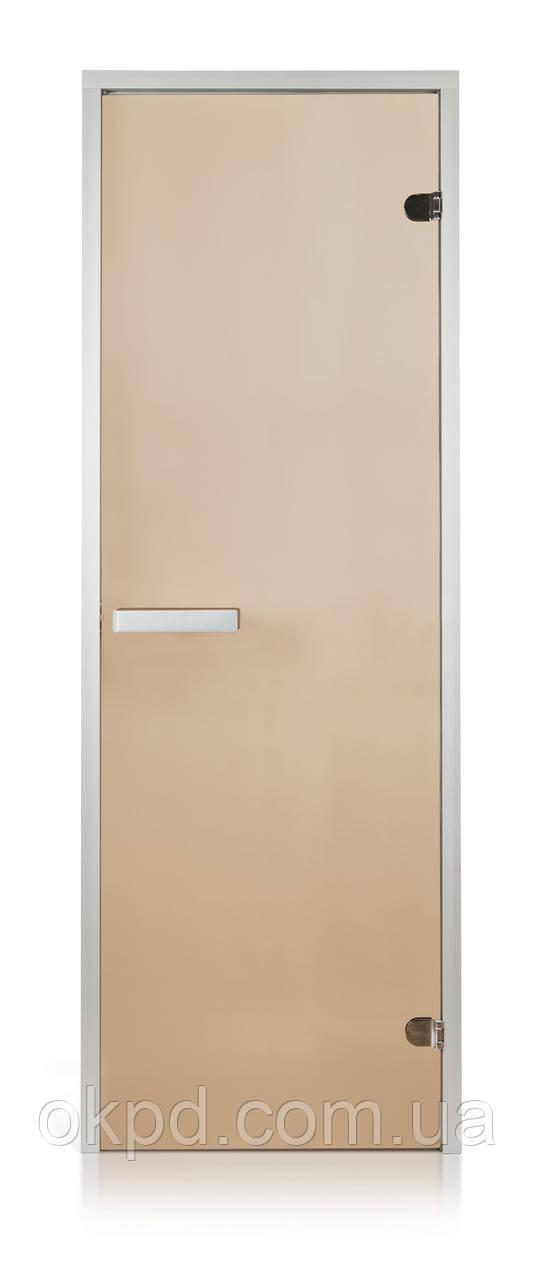 Стеклянная дверь для хаммама GREUS прозрачная бронза 70/190 алюминий