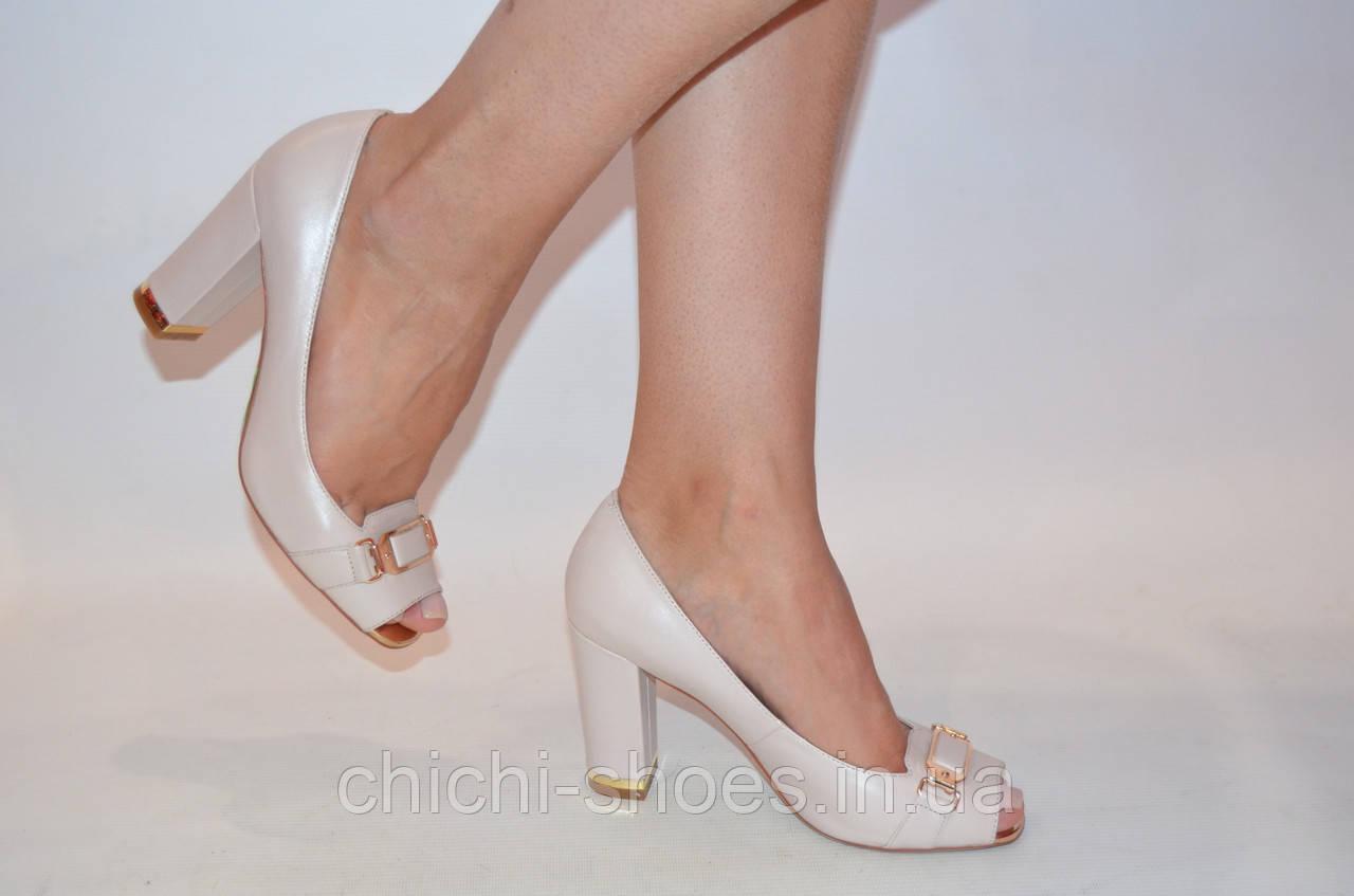 Туфли женские Blizzarini 1411-02 бежевые кожа каблук размеры 37,38