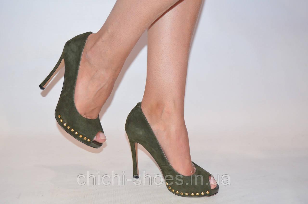 Туфли женские Marco Pinotti оливковые замша каблук-шпилька