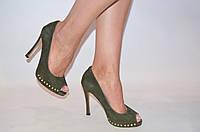 Туфли женские Marco Pinotti оливковые замша каблук-шпилька, фото 1