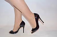Туфли женские Big Rope 2570-1611 чёрные кожа-лак каблук-шпилька, фото 1