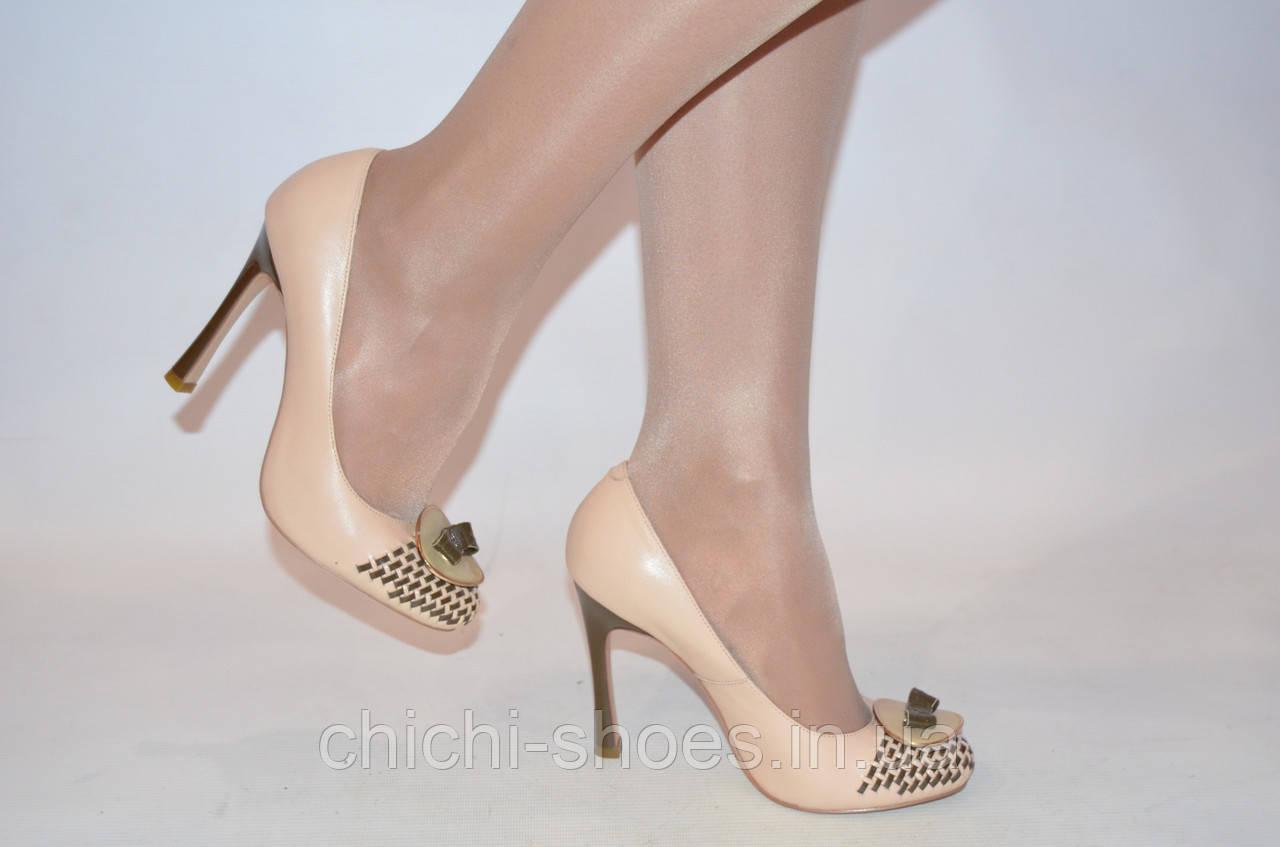 Туфли женские Lanzoni 1225 бежевые кожа каблук-шпилька