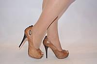 Туфли женские Big Rope 1676 коричневые кожа каблук-шпилька размеры 35,37, фото 1