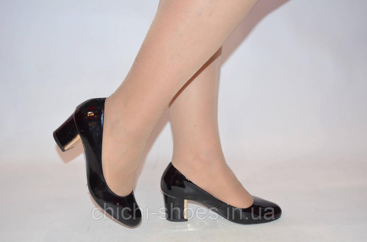Туфли женские Blizzarini 6396-1 чёрные кожа-лак каблук (последний 36 размер)