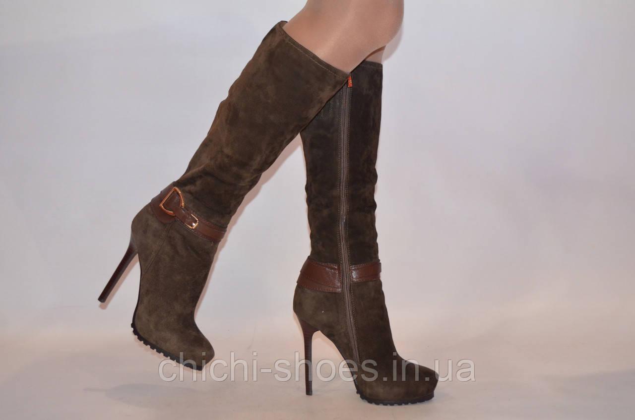 Сапоги женские зимние Basconi 0429-67 коричневые замша каблук-шпилька0429-67