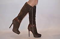 Сапоги женские зимние Basconi 0429-67 коричневые замша каблук-шпилька0429-67, фото 1