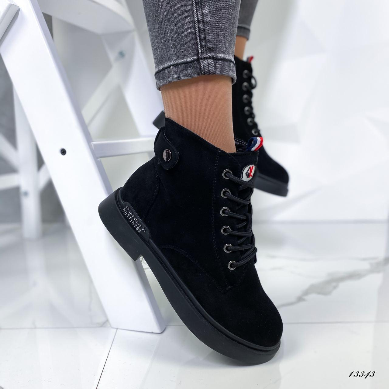 Ботинки женские из эко-замша