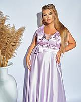 Атласное вечернее женское платье больших размеров, фото 1