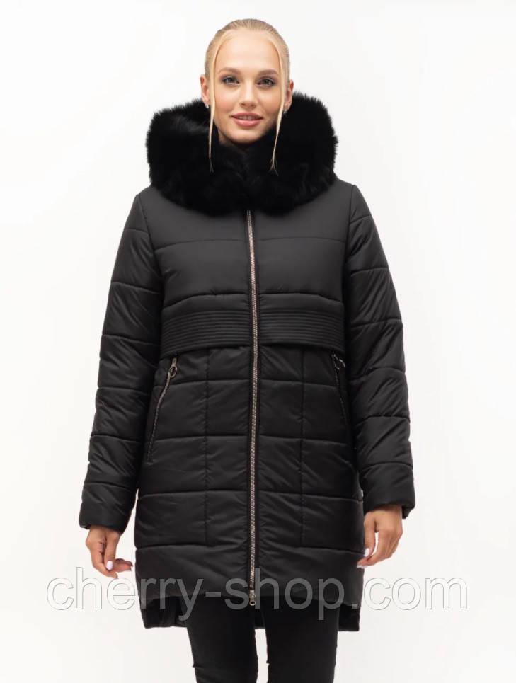 Стильная зимняя куртка с натуральным мехом, Зима 2021