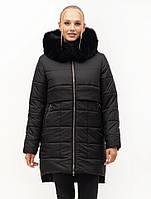 Стильная зимняя куртка с натуральным мехом, Зима 2021, фото 1