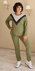 Женский прогулочный костюм ,ткань трикотаж,  размеры 48,50,52,54 (2058) хаки  ,костюм