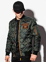 Куртка чоловіча демісезонна бомберка C357 - зелена/камуфляж - XXL