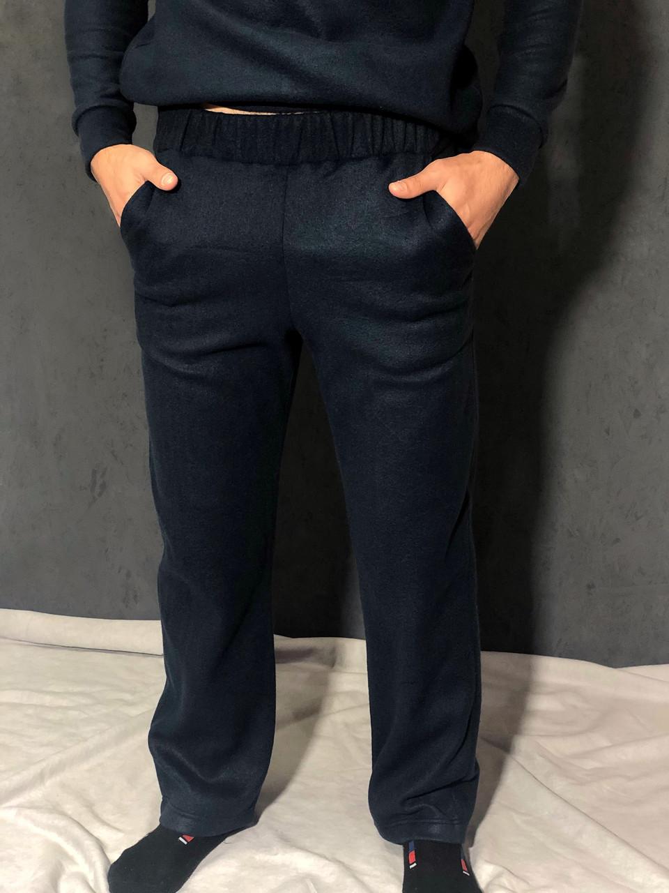 Синие спортивные штаны из флиса