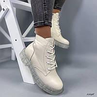 Женские ботинки кожаные бежевые, фото 1