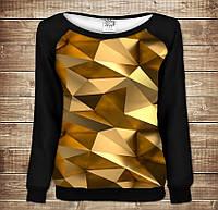 Жіночий світшот - реглан з відкритими плечима з 3D принтом Золотий кубізм