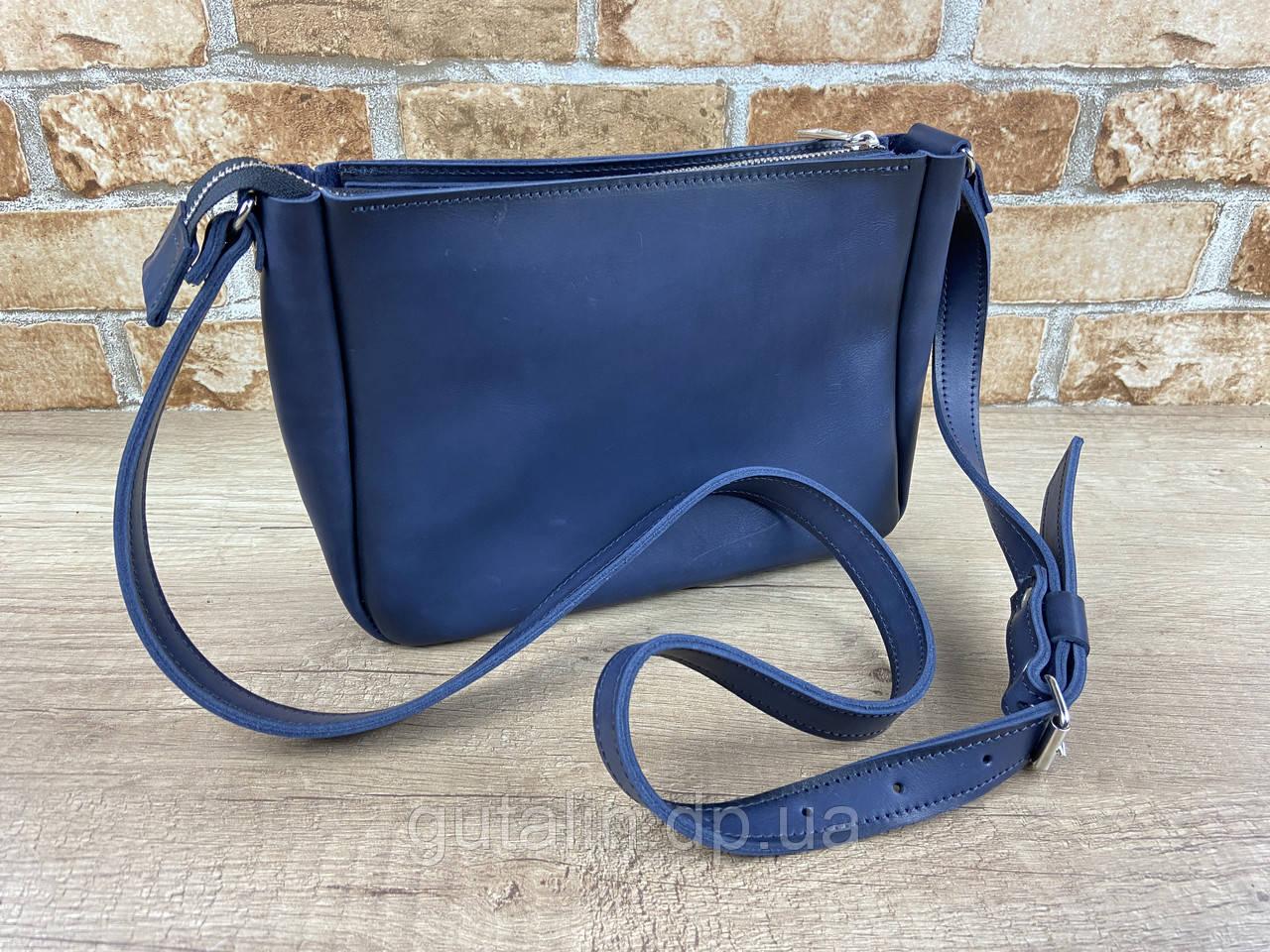 """Женская сумка """"Middle"""" ручной работы из натуральной кожи цвет Синяя"""