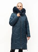 Красивый теплый женский зимний пуховик цвета малахит, фото 1