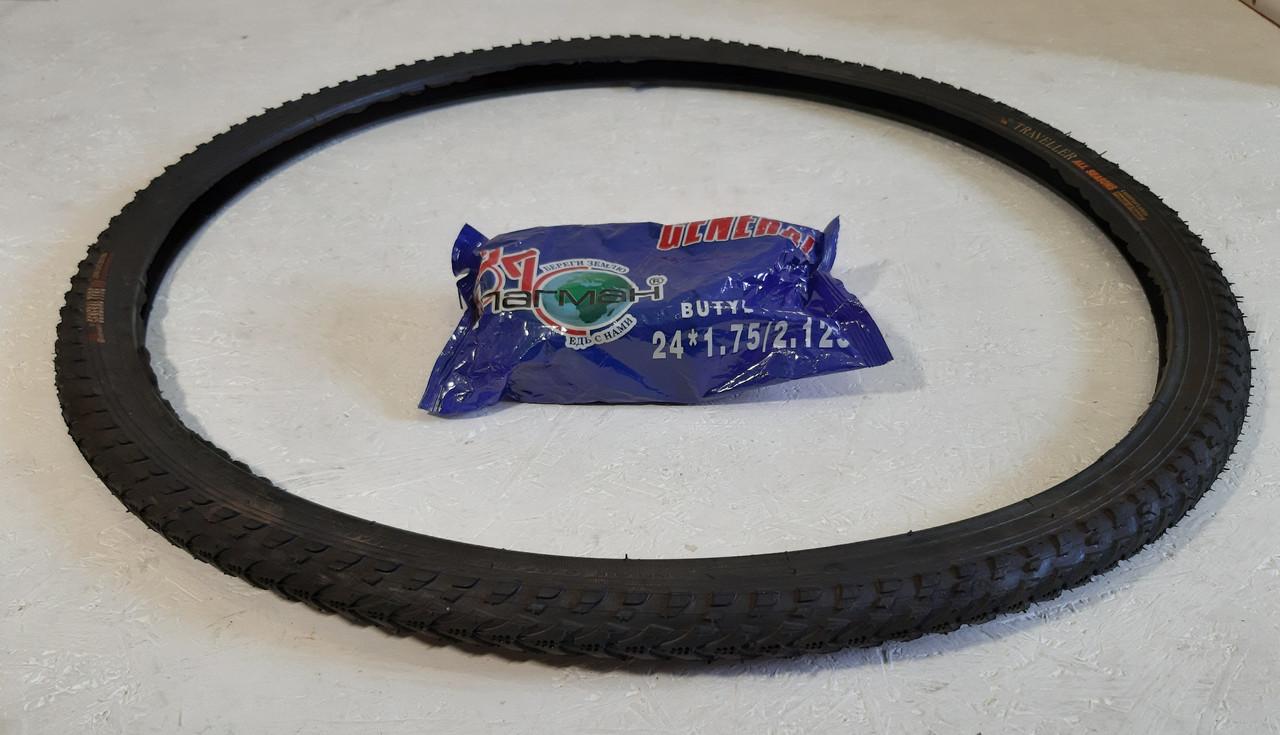 Покрышка 37-533 (24 дюйма) на велосипед Салют Генерал Елочка с камерой в комплекте
