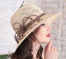 Летняя шляпа из натуральной  соломки цвет бежевый 10 см