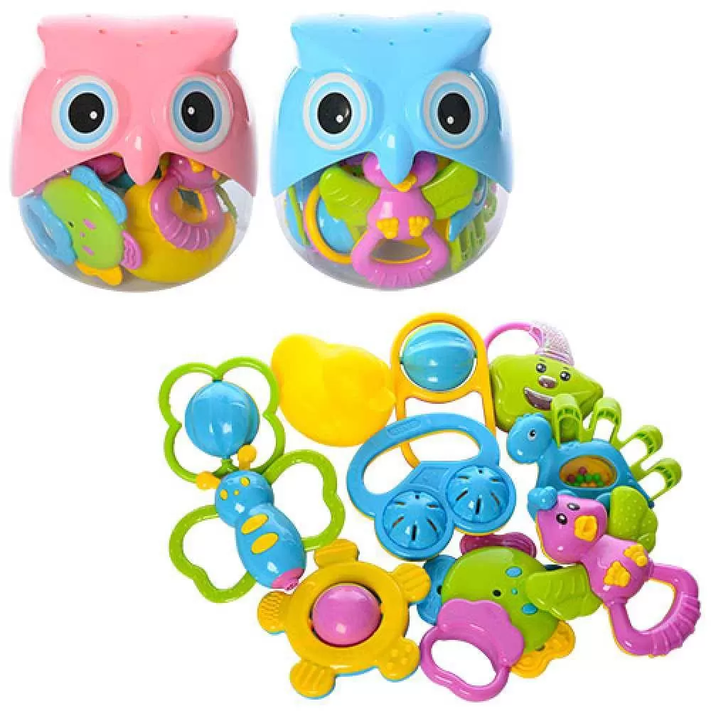 Погремушки в колбе Сова (Розовый) набор разных погремушек для малышей, Разноцветный