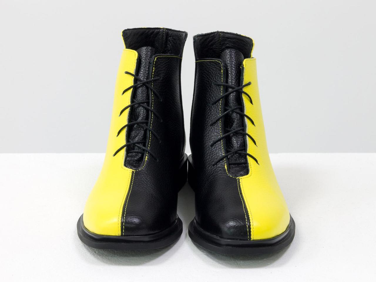Дизайнерские ботинки черного и желтого цвета из итальянской натуральной кожи флотар