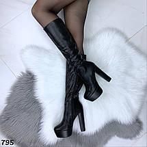 Cапожки демисезонные женские на высоком каблуке, фото 2