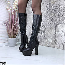 Cапожки демисезонные женские на высоком каблуке, фото 3