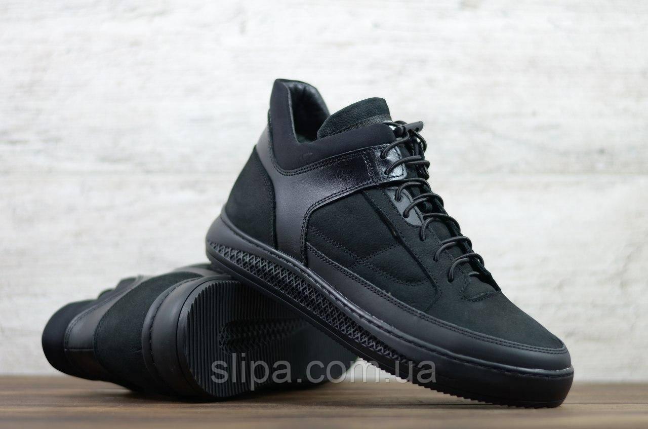Мужские зимние ботинки Zangak чёрные из нубука 45 размер