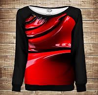Жіночий світшот - реглан з відкритими плечима з 3D принтом-Red Paint