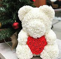 Мишка из роз 40 см в подарочной коробке / Мишка из цветов / Оригинальный подарок девушке Белый, фото 1